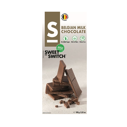 Milk Belgian Chocolate Bar No Added Sugar Gluten Free Stevia SWEET SWITCH 100g