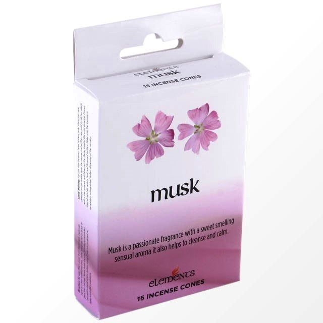 Musk Scented Incense Cones Elements Indian - Box Of 15