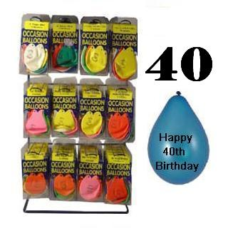 Pack of 10 Balloons - Age 40 / Happy 40th Birthday