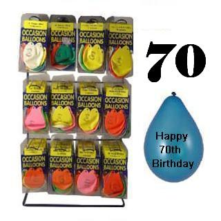 Pack of 10 Balloons - Age 70 / Happy 70th Birthday