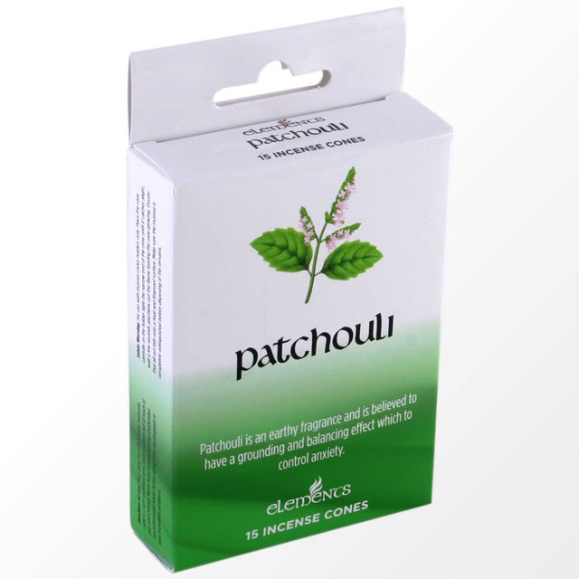 Patchouli Scented Incense Cones Elements Indian - Box Of 15