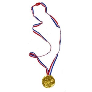 Plastic Gold Medal With Neck Cord - Winner