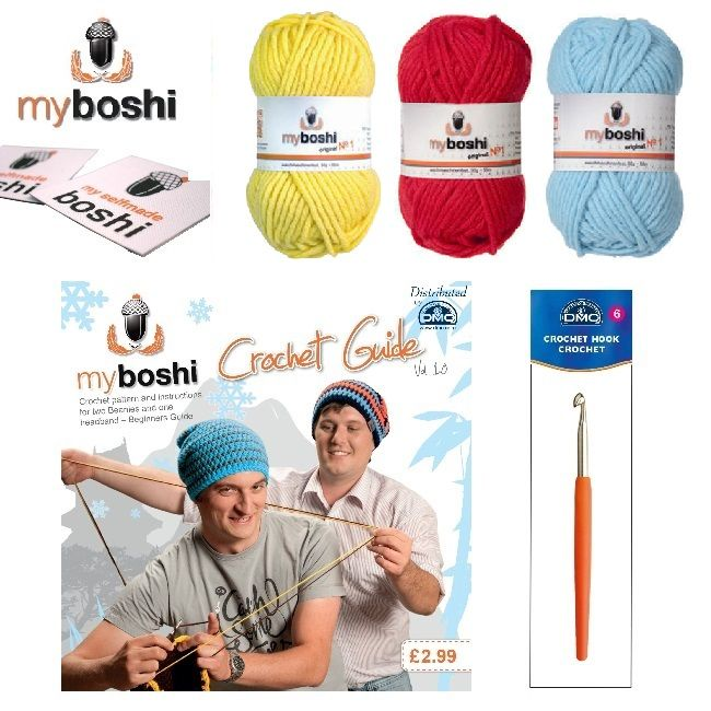 Primary - Make Your Own Crochet Myboshi Beanies Hat Kit (Colours 113 132 151)