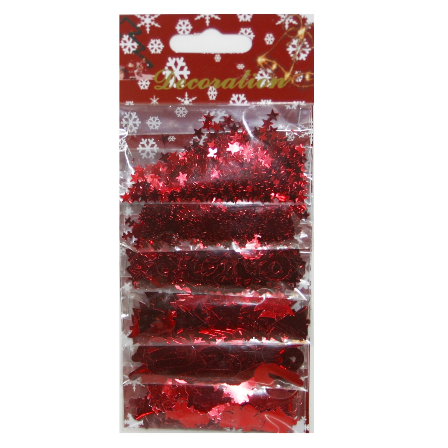 RED Christmas Confetti Foiletti (Angels Trees Stars Snowflakes Wreaths  Candy Canes) Pack of 6