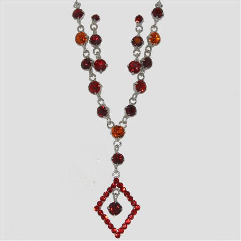 RED Diamond Shaped Necklace & Matching Earrings Set - Sparkly Crystal Costume Jewellery
