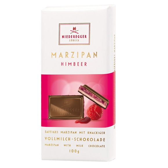 Raspberry Creme Milk Chocolate Marzipan NIEDEREGGER LUBECK Bar 100g