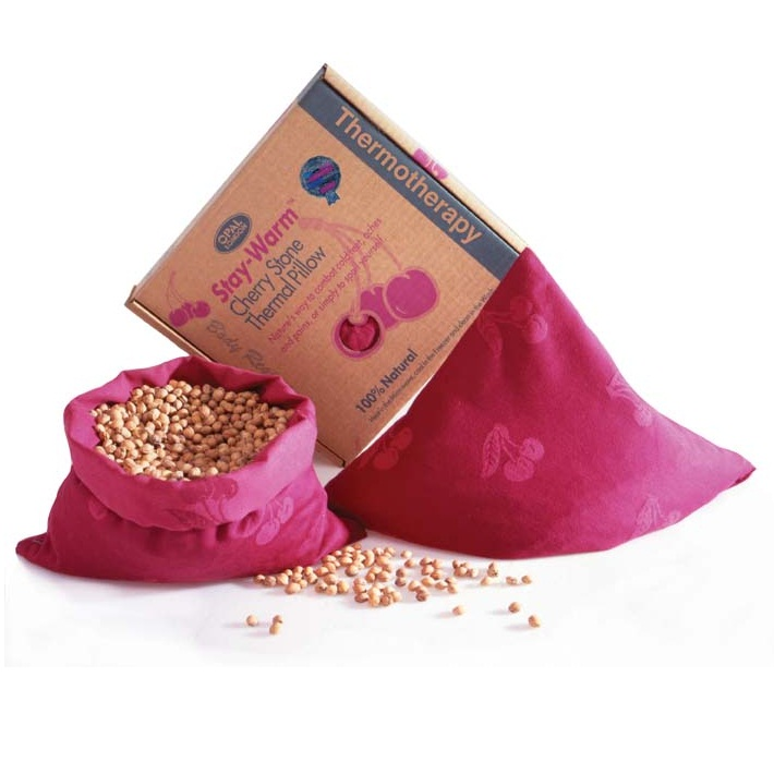 SQUARE PILLOW Stay-Warm Cherry Stone Thermal Heat & Cool Pack (Wheat Free)