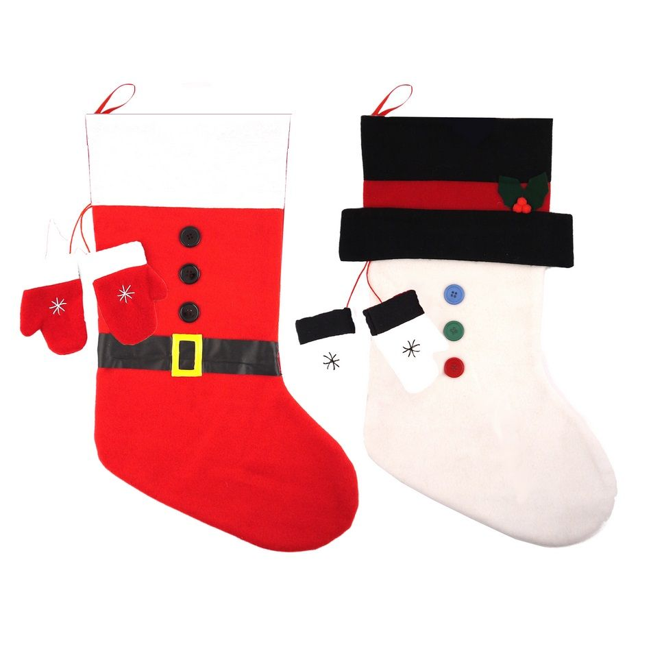 Luxury Christmas Stockings Uk.Santa Or Snowman Luxury Felt Christmas Stockings Mittens 50cm