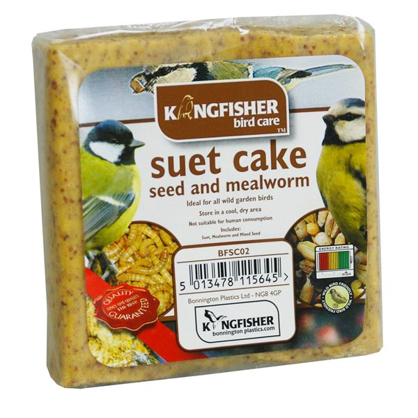 Seed & Mealworm Suet Cake For Wild Garden Birds Kingfisher Bird Care