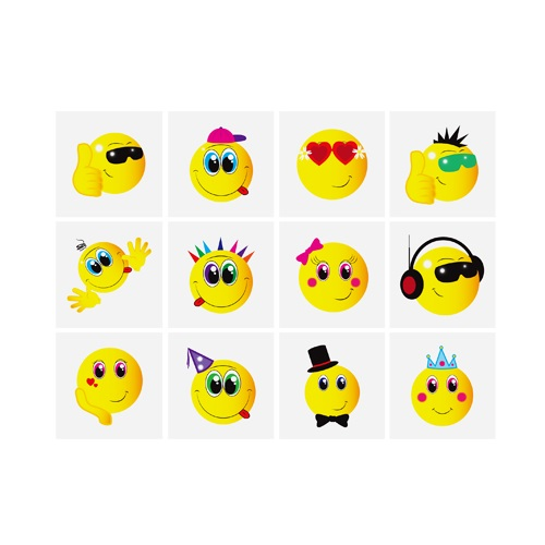 Smiley Face - Pack of 12 Mini Tattoos