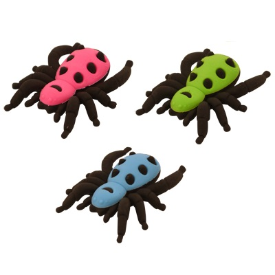 Spider - Novelty 3D Erasers Rubbers BLUE GREEN or PINK