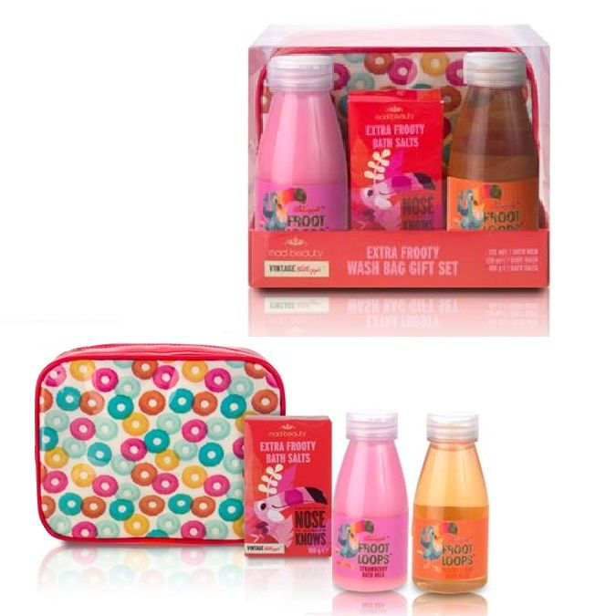 Rechargeable Alkaline Batteries >> Vintage Kelloggs Cereal Extra Fruity Bath Wash Bag Gift Set - Froot Loops - Mad Beauty