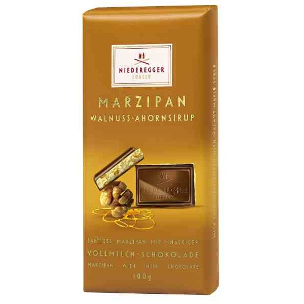 Walnut & Maple Syrup Milk Chocolate Marzipan NIEDEREGGER LUBECK Bar 100g