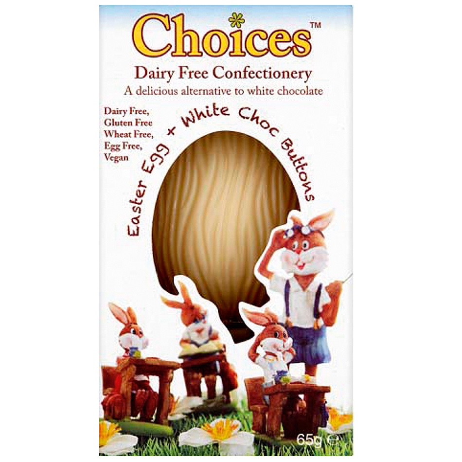 White Chocolate Easter Egg Buttons Choices Dairy Free Milk Chocolate Alternative Celtic 65g