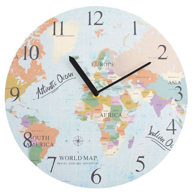 World Map 29835 - Large Rustic Retro Kitchen Wall Clock 34cm