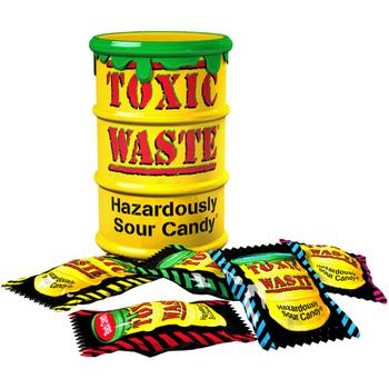 Yellow Toxic Waste Candy Barrel Drum - Dangerously Sour Sweets 42g
