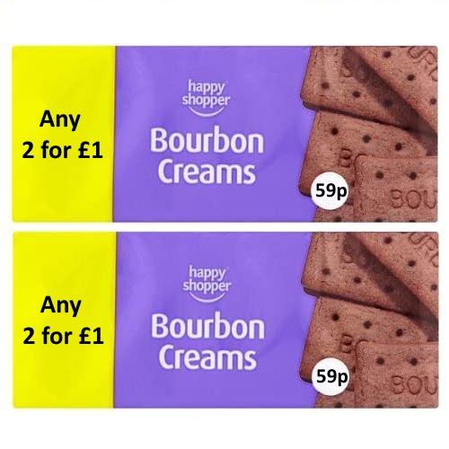 Bourbon Creams Biscuits Happy Shopper 150g (2 Pack)