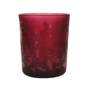 Burgundy Red Small Patterned Tealight Holder Shearer Candles