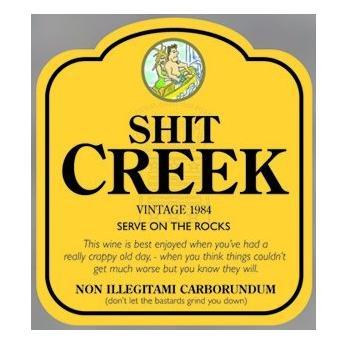 Fun Wine Bottle Label Amp Gift Bag Shit Creek Jacobs Creek
