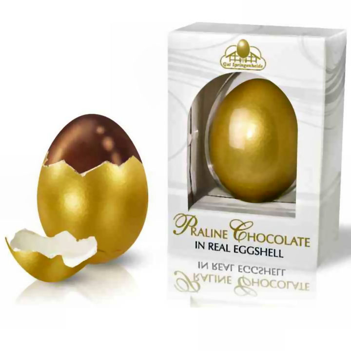 Nuts And Praline Easter Egg: Golden Real Eggshell Praline Chocolate Easter Eggs