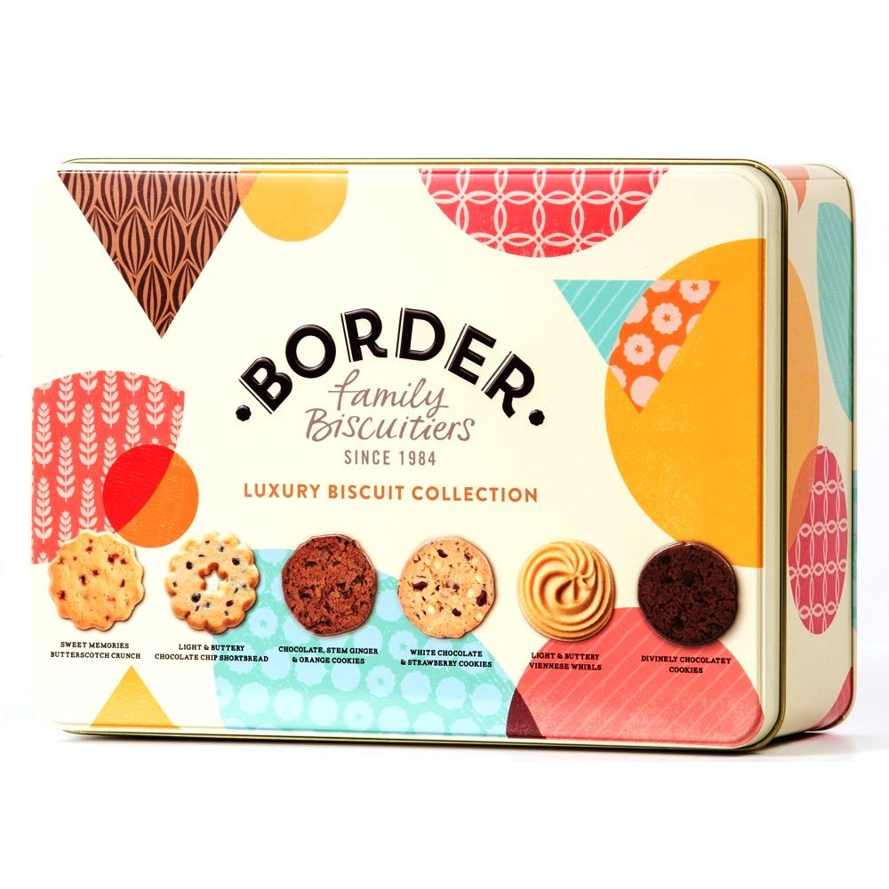 Luxury Biscuit Collection Gift Tin Cookies Border