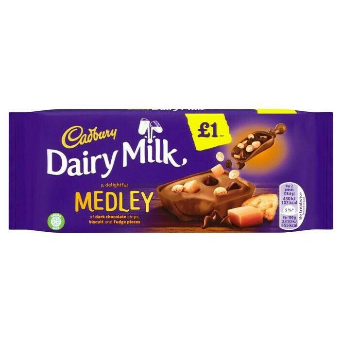 Medley Fudge Biscuit Dairy Milk Chocolate Bar Cadbury 93g