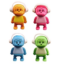 Monkey - Novelty 3D Erasers Rubbers PINK BLUE GREEN or ORANGE