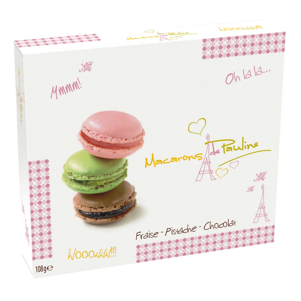 Pistachio Strawberry Chocolate Macarons de Pauline Gift Box d Haubry 108g  Pack of 9