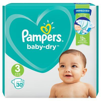 Size 3 Pampers Baby-Dry Nappies (Pack of  30)