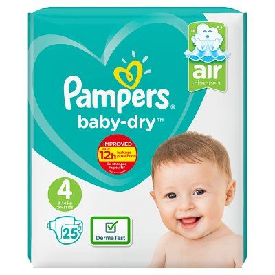 Size 4 Pampers Baby-Dry Nappies (Pack of  25)